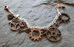 Image of Antique Gold and Copper Clockwork Charm Bracelet, handmade