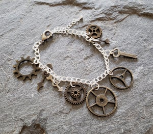 Image of Antique Gold Clockwork Charm bracelet, handmade