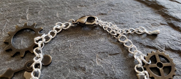 Image of Antique Gold Clockwork Charm bracelet, handmade