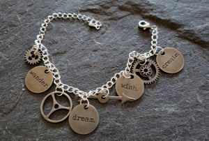 Image of Wander, Wish, Dream, Create Charm Bracelet, handmade