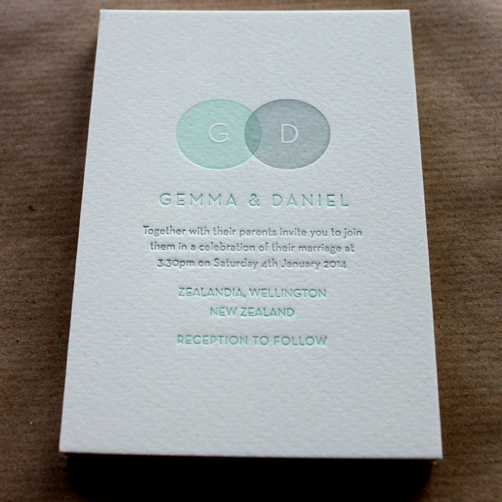 Image of  Letterpress Wedding Invitations 'Amber', 2 Colour, Made to order