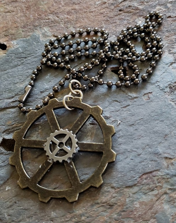 Image of Clockwork Pendant necklace , handmade