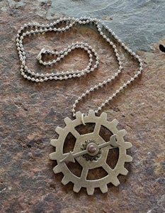 Image of Moving Clockhand Clockwork pendant necklace, handmade