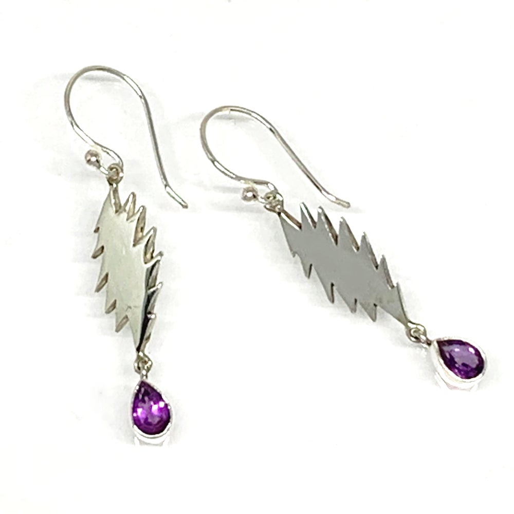 Image of 13 Point Bolt Earrings with Faceted Amethyst