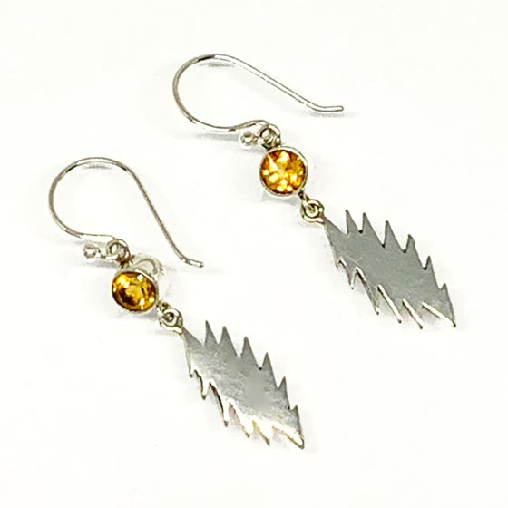 Image of 13 Point Bolt Earrings with Faceted Citrine Stones