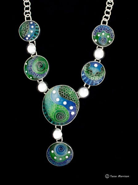 Image of Blue and Green Cloisonné and Basse Taille Enamel Necklace