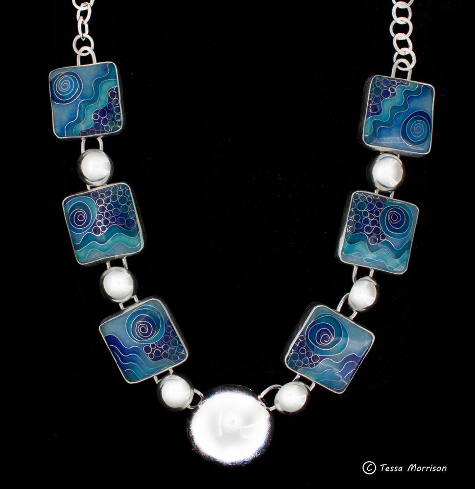 Image of Blue Cloisonné Enamel Necklace  with Silver Domes