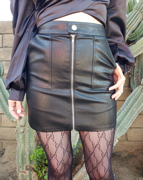 Image of Daisy Faux Leather Skirt