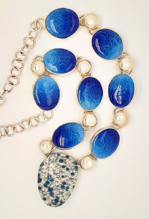 Image of Blue Jasper with Eight Basse Taille Enamels Necklace