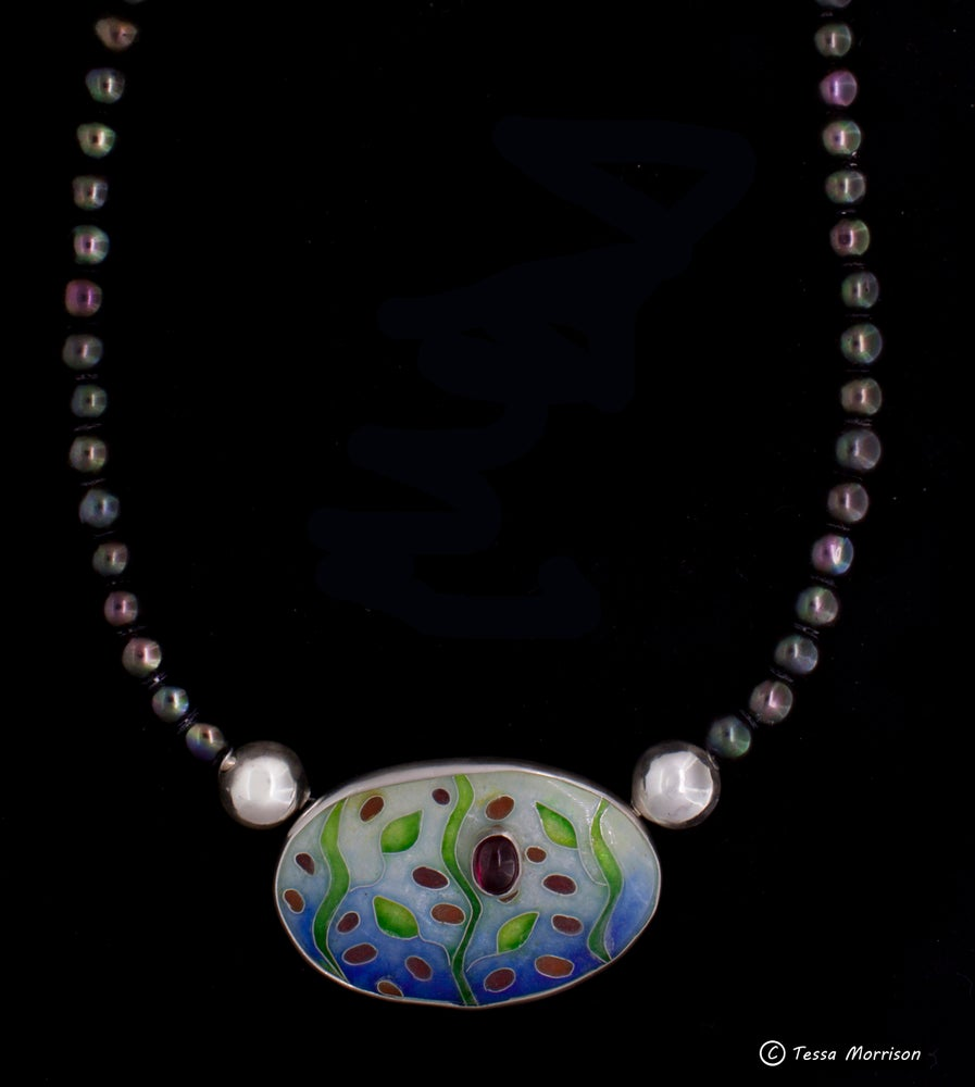 Image of Delicate: Cloisonné Enamel, Garnet and Black Pearl Necklace
