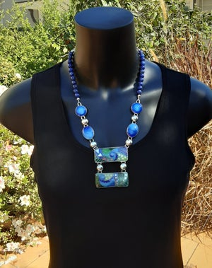 Image of Cloisonné and Basse Taille Enamel Necklace with Lapis Lazuli Beads
