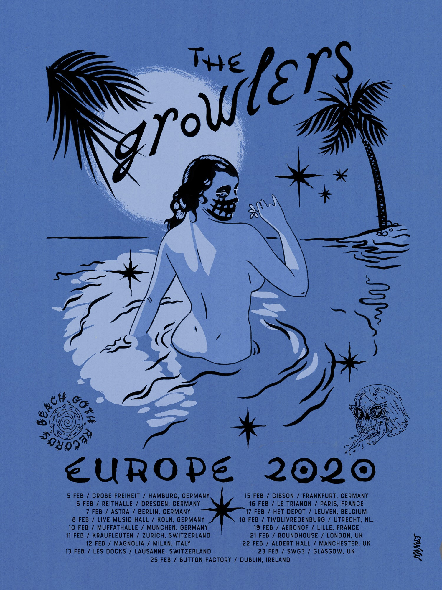 Image of The Growlers' Europe 2020 Tour Poster - Adriatic