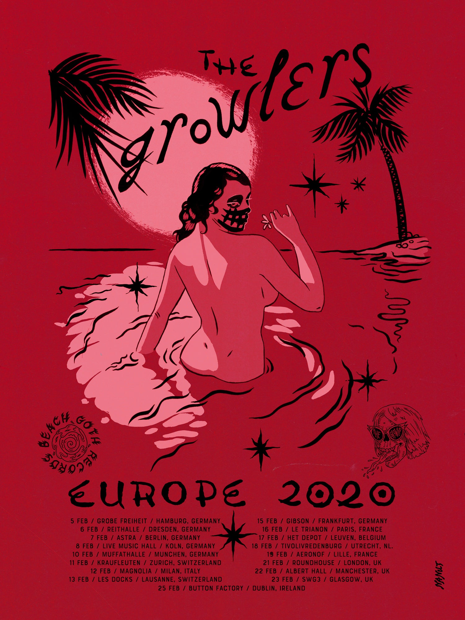 Image of The Growlers' Europe 2020 Tour Poster - Vermilion
