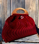 Image of Medium Bag medium handles Claret red rugged velveteen