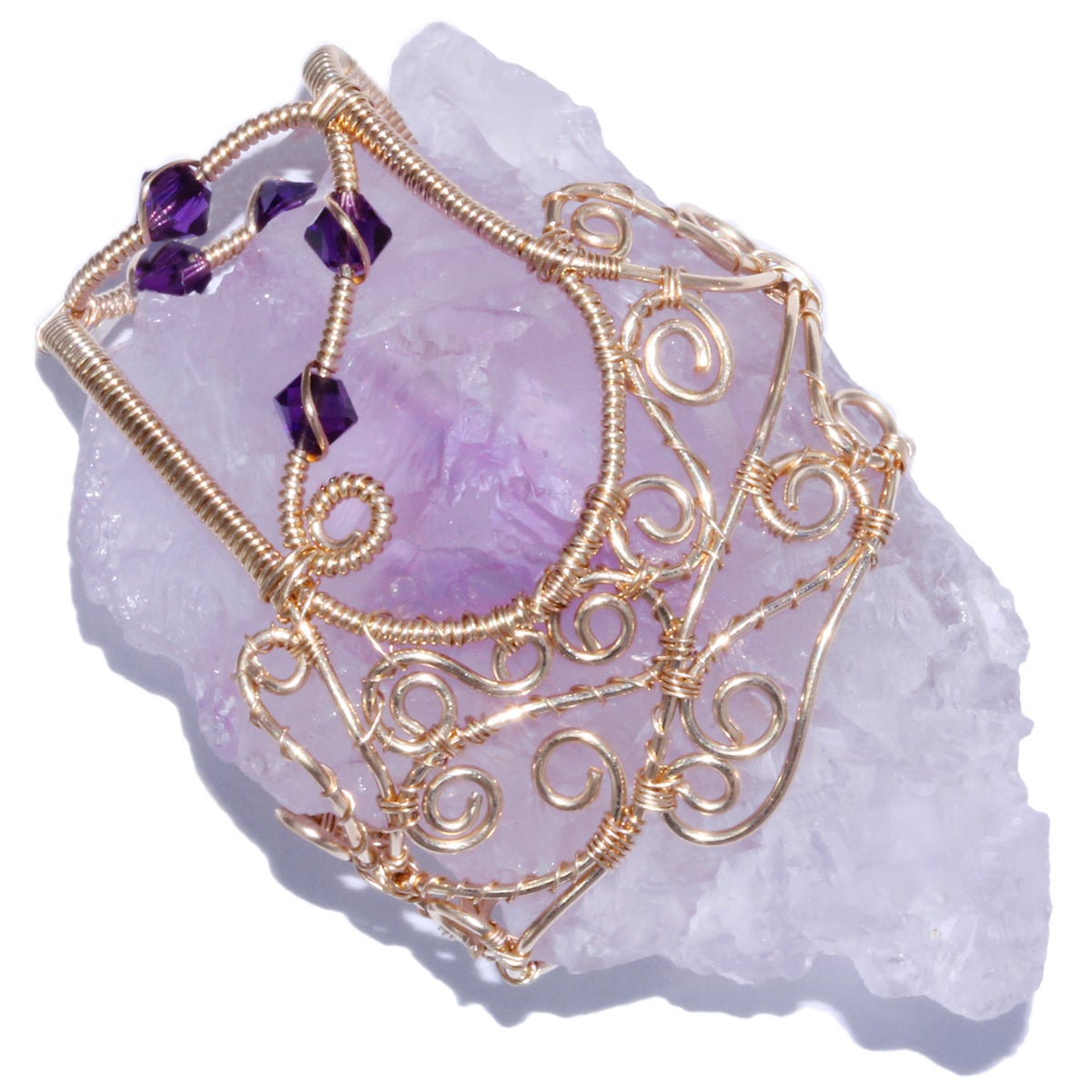 Etched Lavender Amethyst Crystal Pendant with Internal Rainbow