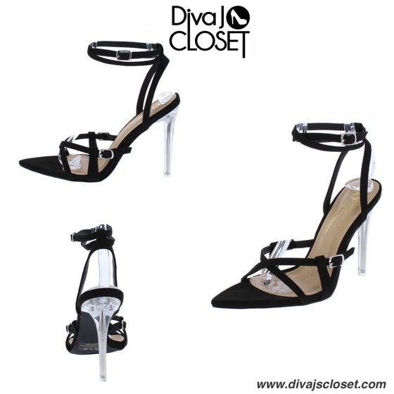 Image of Black Open Toe Heels w/Lucite Heel