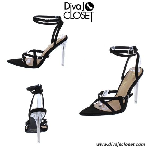 Image of Black Open Toe Heels w/Lucite Heel