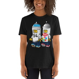 Image of Spray Paint Cans Unisex Adult Black T-Shirt