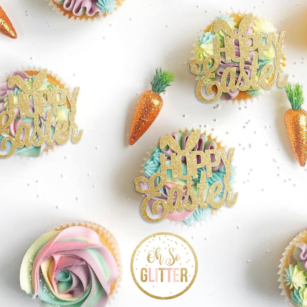 Image of HOPPY Easter cupcake toppers - pack of 6 - no sticks