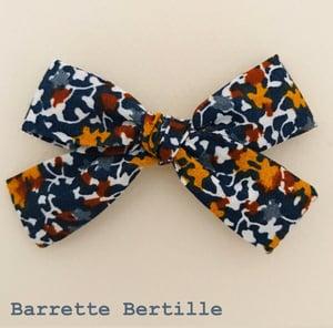 Image of Barrette coton moutarde et bleu