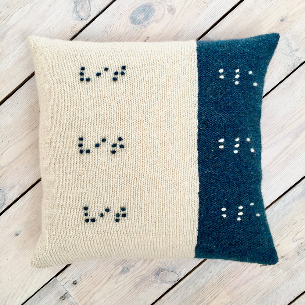 Image of Feel the Colour® cushion cover - blue/white - Made to Order