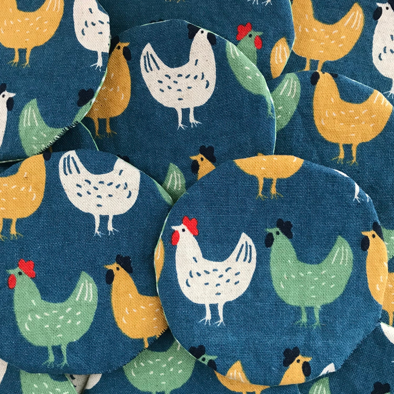 Image of Set of 6 Japanese print Chicken coasters.