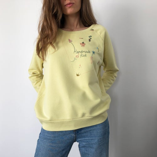Image of Handmade as fcuk, hand embroidered doodles on organic cotton sweatshirt