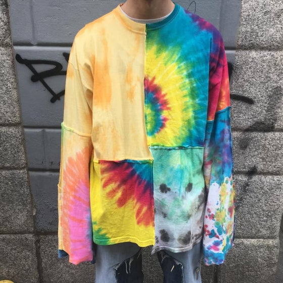 Image of TIE DYE PATCHWORK T-SHIRT