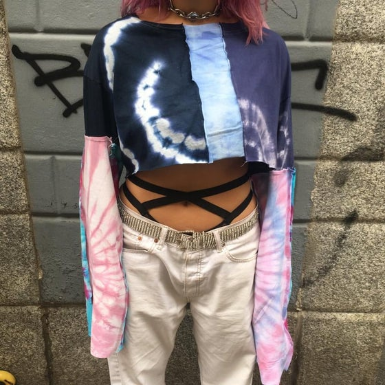 Image of CROP TOP TIE DYE PATCHWORK SHIRT