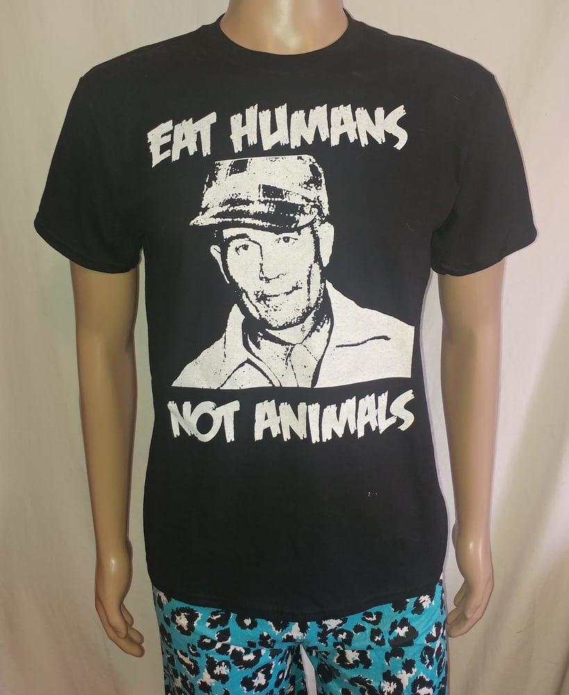 Image of Ed Gein eat humans not animals black tshirt