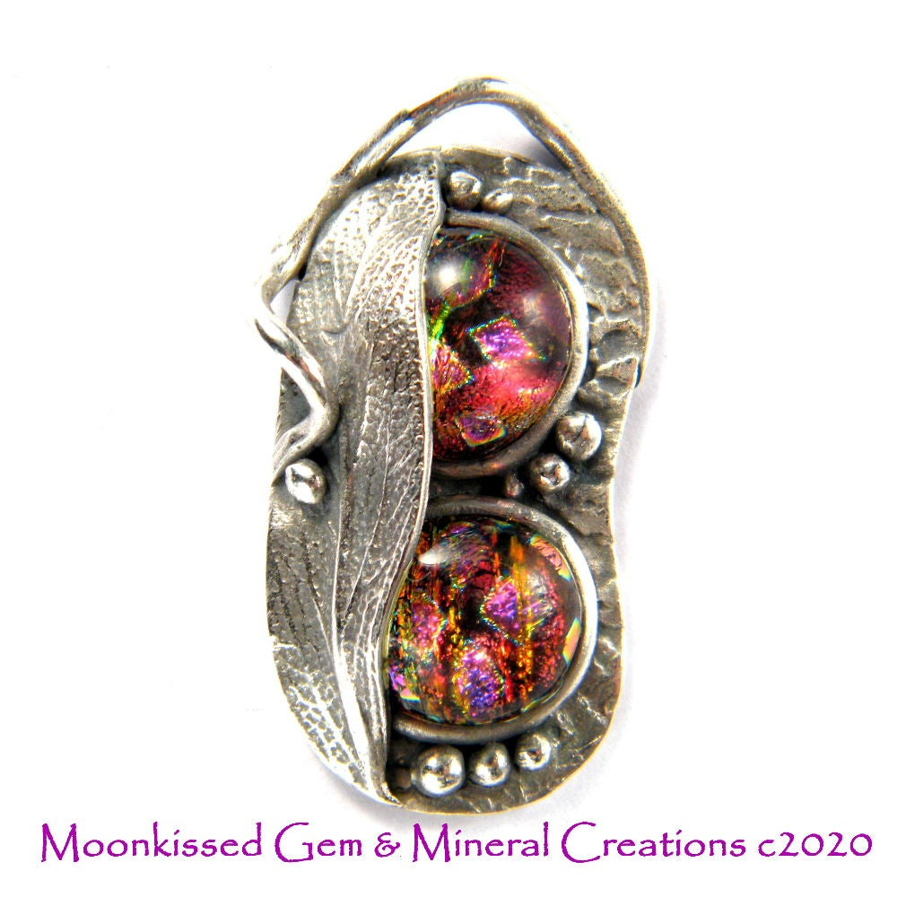 Image of Sage and Dichroic Glass Fine Silver Pendant