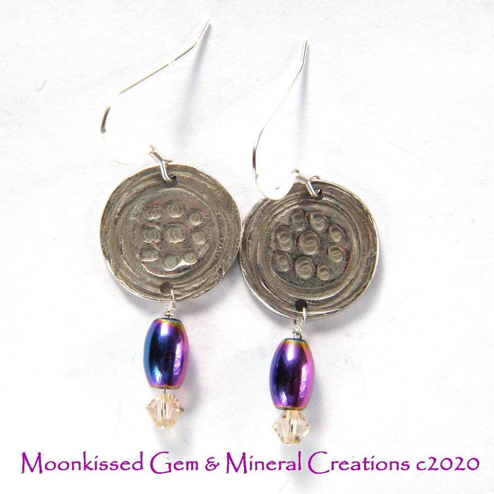 Image of Dotty Purple Fine Silver Earrings
