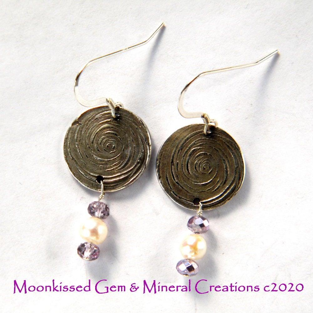 Image of Spiral Pearl Fine Silver Earrings