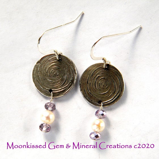Image of Spiral Pearl Fine Silver Earrings