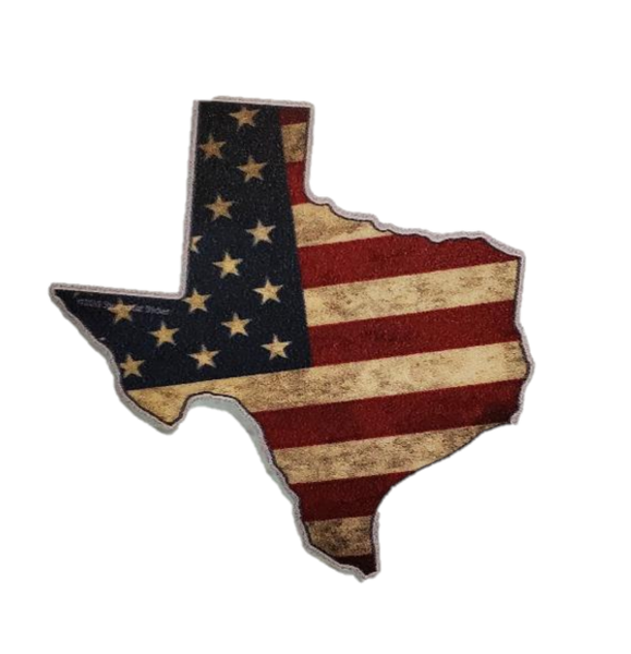 Image of Sticker - Texas Shape USA Flag (small)