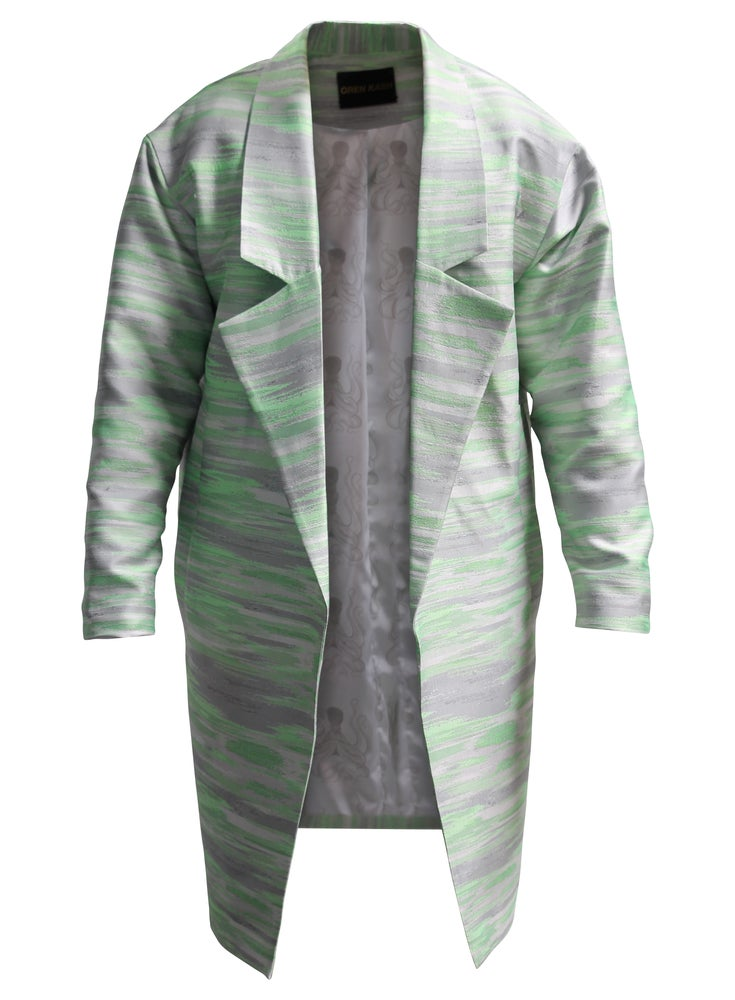 Image of Geo Stripe Trench Coat