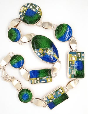 Image of A Touch of Mediaeval: Cloisonné and Basse Taille Enamel and Silver Necklace