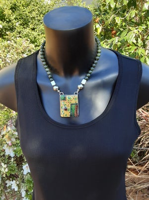 Image of  Intense: Cloisonné Enamel, Silver, Gold and Jaded Necklace