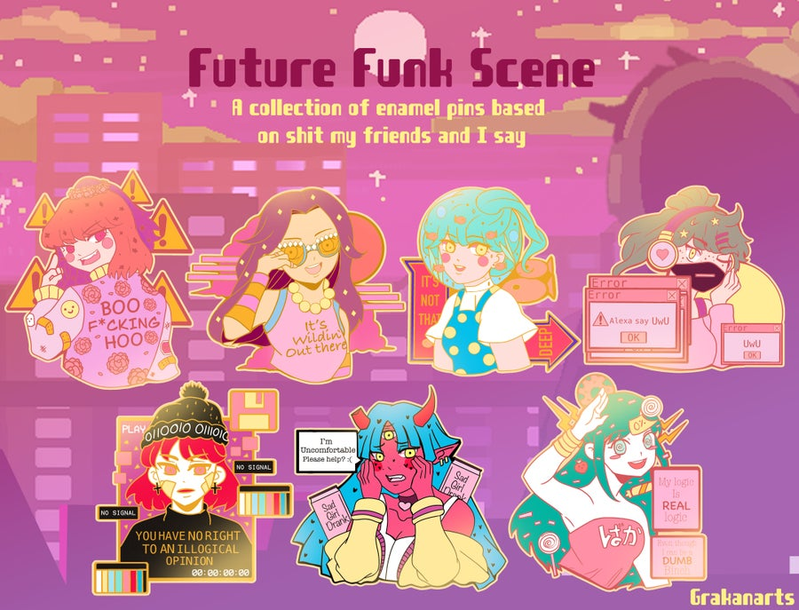 Image of Future Funk Scene Enamel Pins