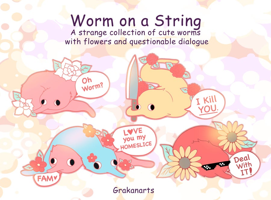 Image of Funny Aesthetic Worm on a String Enamel Pins