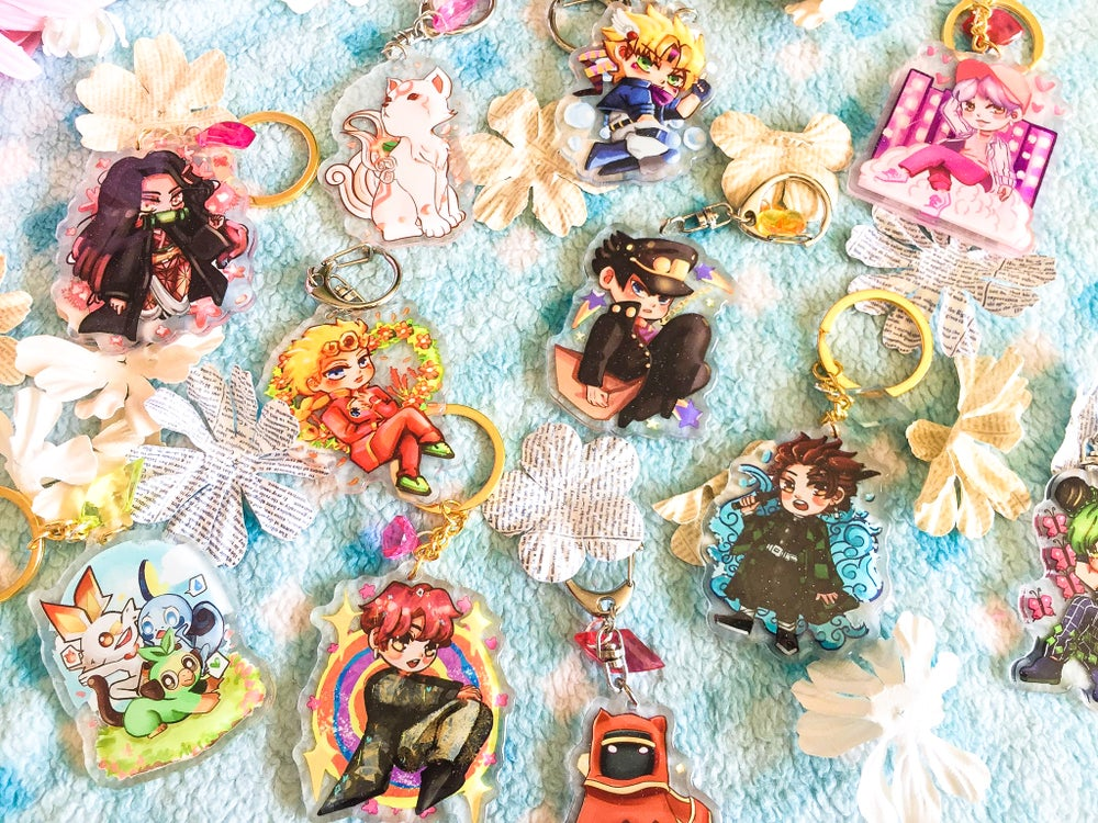 Image of [MIX and MATCH] 2.5 inch Glitter Charms Keychains Buy 3 Get 1 FREE!