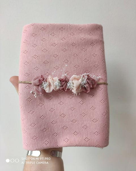 Image of Wrap a motif vieu rose et mini halo vieu rose