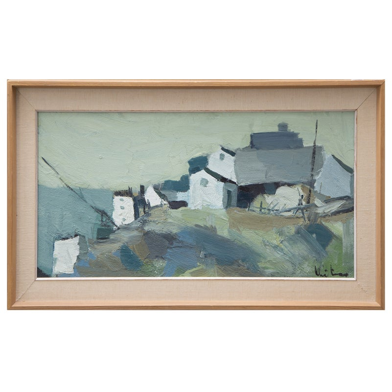 Image of Swedish Oil Painting 'Fishing Village'  P Kristansen