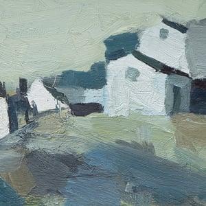 Image of Swedish Oil Painting 'Fishing Village'  P Kristansen