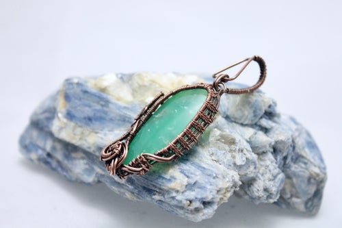 """Image of """"Mentos"""" Large Chrysoprase Wire Wrapped Amulet Pendant in Copper Wire"""