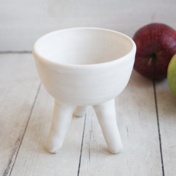 Image of Matte White Succulent Pot, Handcrafted Quirky Tripod Planter, Ceramic Pottery Made in USA - 3