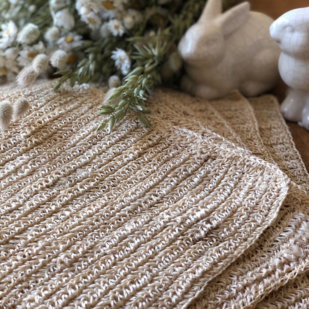 Image of -20% Set en fibre naturel crocheté / Naturel
