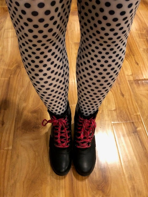Image of Black and White Polka Dot Tights