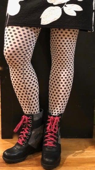 Image of Black and White Polka Dot Tights