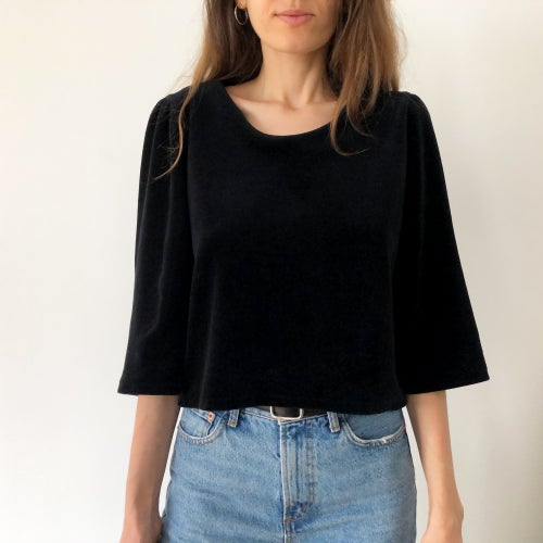 Image of Pre-order: Margareth shirt in black velvet 100% organic cotton in Berlin, hand embroidered in Paris